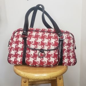 Vera Bradley red hounds tooth satchel purse